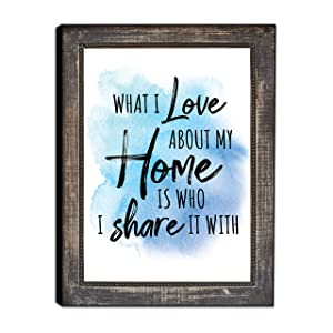 "LACOFFIO What I Love About My Home Sign 9""x 12"" Wooden Wall Decor Plaque Perfect for Kitchen and Living Room - Inspirational and Motivational Quotes Wall Art"