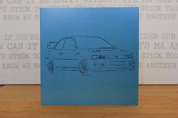 Tarjeta de felicitación Subaru Impreza WRX - Retro Motor Company: Amazon.es: Oficina y papelería
