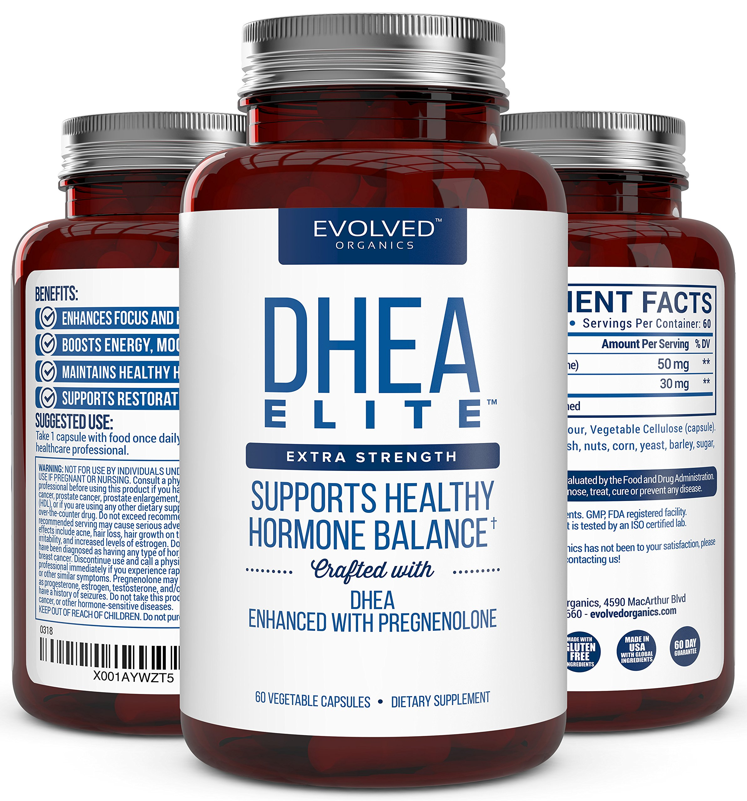 Extra Strength DHEA 50mg, With Pregnenolone 30mg – Hormone Balancer For Over 30's - Menopause Relief For Over 50's – Supports Energy, Mood, Sleep, and Healthy Aging – 60-Day Supply