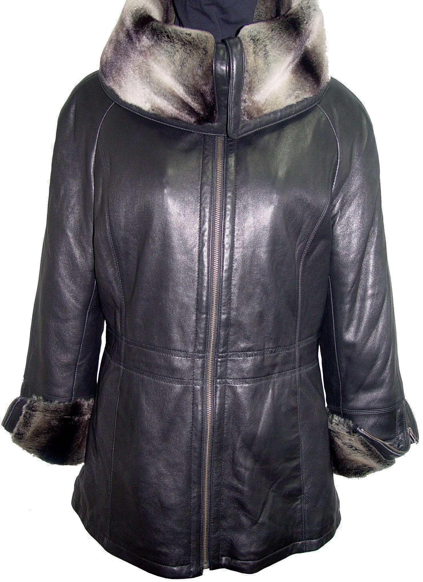 Johnny 5008 Women Hooded Leather Coats Fake Fur The Parka Fine Soft Lamb