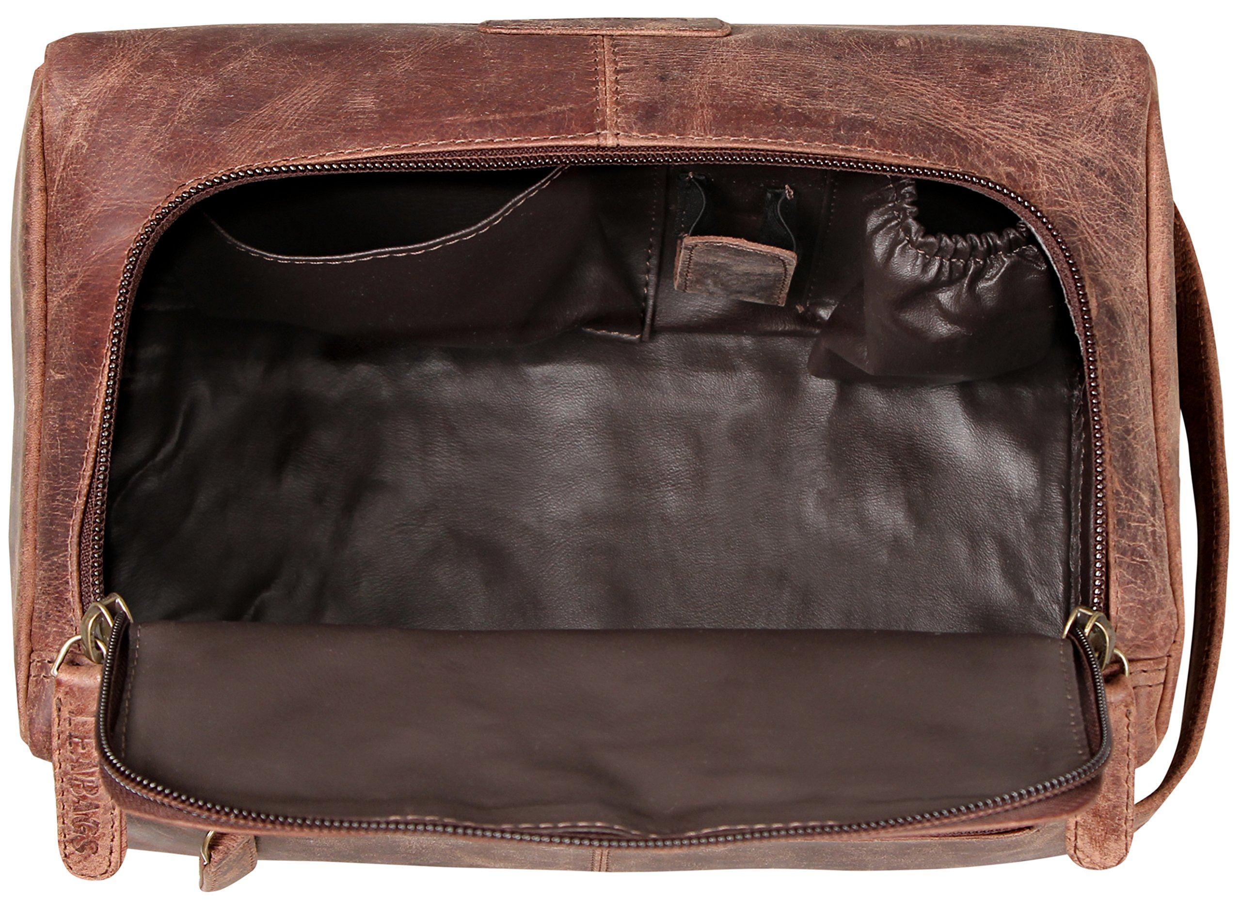 LEABAGS Palm Beach genuine buffalo leather toiletry bag in vintage style - Nutmeg by LEABAGS (Image #6)