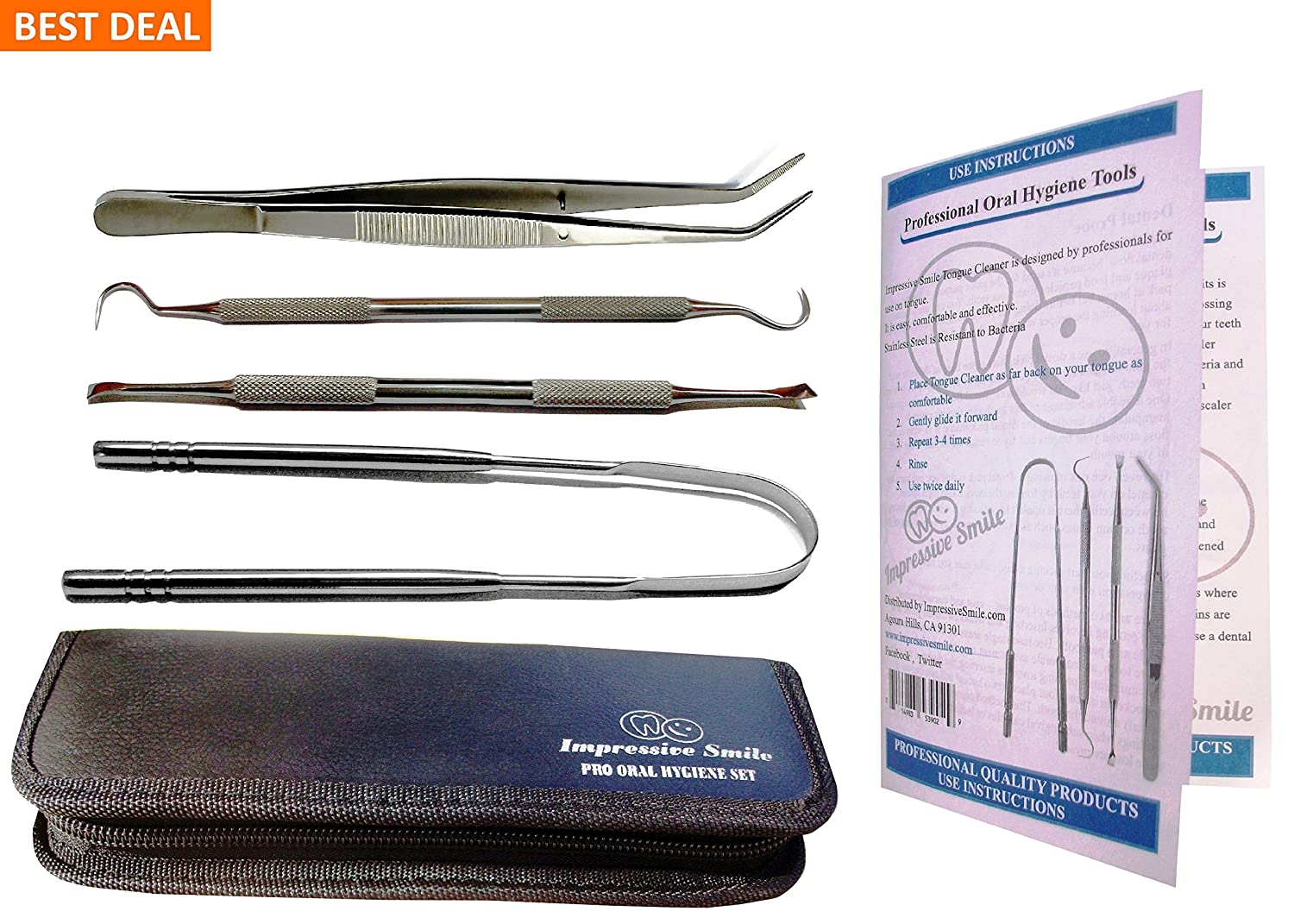 Essential and Stylish Pro Oral Hygiene Kit for Home Use - Calculus & Plaque Remover Set - Tartar Scraper - Scaler Instrument, Tongue Cleaner, Dental Tweezers, Instructions - Used by Dentists Impressive Smiles