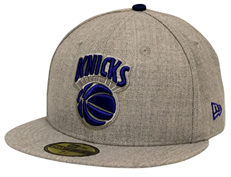 New Era 59Fifty Heather Gray Blue New York Knicks Fitted Cap (7 7 8 ... fc9eb063cd0