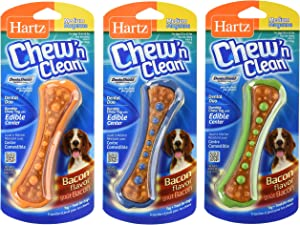 Hartz Chew N' Clean Assorted Colors Dental Duo Toy and Edible Dog Chew (Medium/Small (Set of 3))