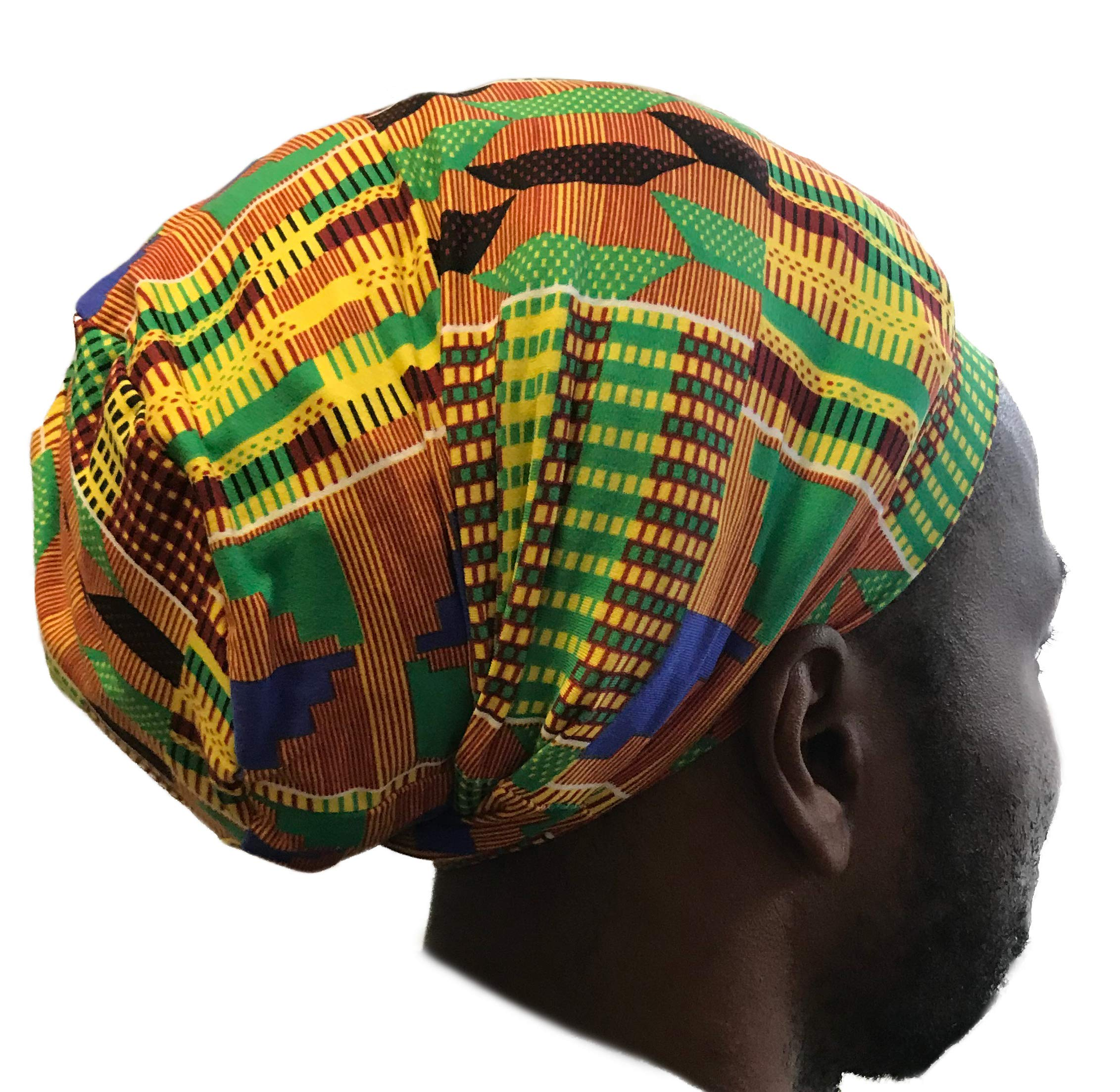 Fairy Black Mother Dreadlocks Locs Cap (African kente Large,yellow) by My Fairy Black Mother (Image #3)