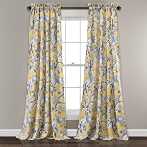 """Lush Decor, Yellow Curtains Dolores Darkening Window Panel Set for Living, Dining Room, Bedroom (Pair), 95"""" x 52"""", Blue"""
