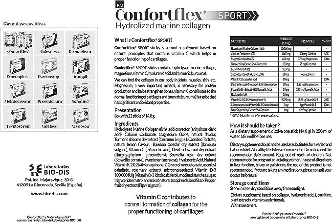 Confortflex® Sport colageno marino hidrolizado 10 gr. con minerales, l-carnitina, curcuma, acido hialuronico y vitaminas C, D-3 y K-2. 22 stick: Amazon.es: Salud y cuidado personal