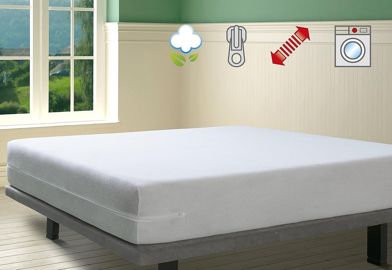 SAVEL - Funda de colchón elástica de Algodón | 90 x 190/200cm | Protector de colchón con Cremallera. Tejido de Rizo 100% Algodon Muy Absorbente y Ajustable (Cama 90cm) Funda Protectora Color Blanco