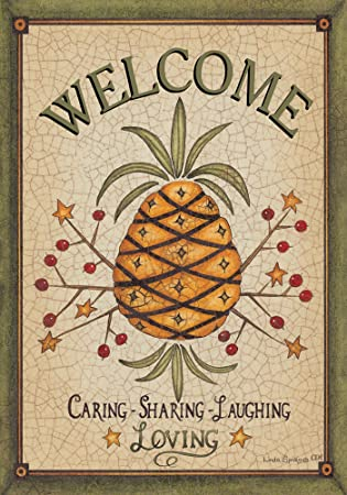 Country Primitive Welcome Pineapple House Flag 28 X 40