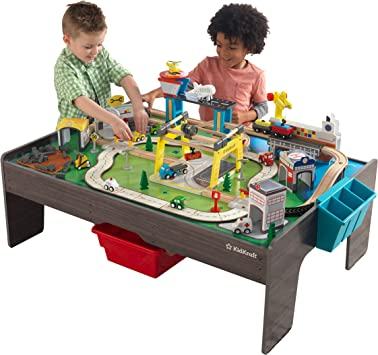 KidKraft- Juguete de vías de tren y mesa, de madera, para niños, juego clásico de actividades ferroviarias con accesorios incluidos (120 piezas) My Own City Vehicle, Color Multicolor (18026): Amazon.es: Juguetes y