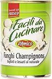 D'Amico - I Facili da Cucinare, Funghi Champignons, tagliati e lessati al naturale - 6 pezzi da 400 g [2400 g]