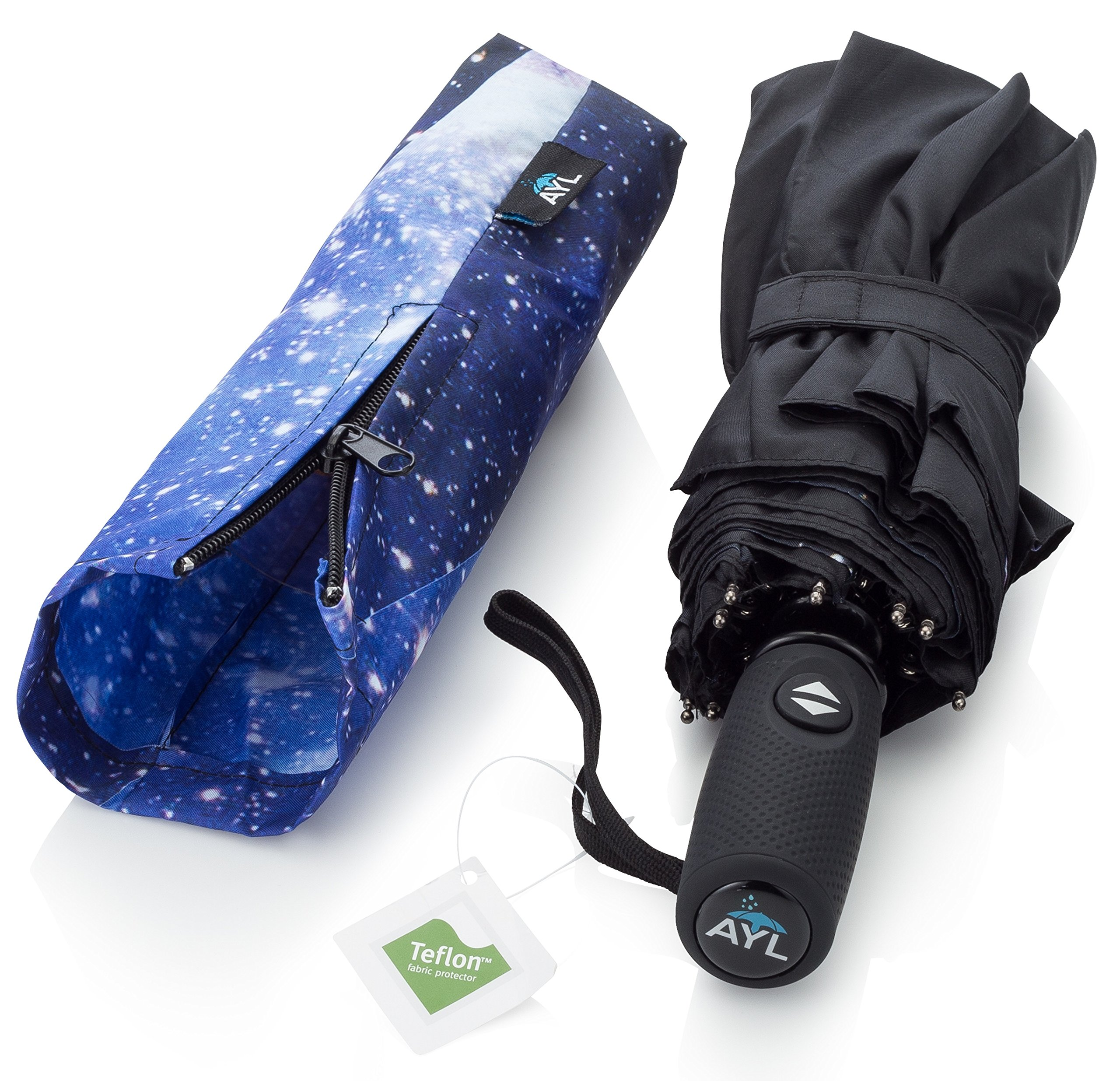 AYL Windproof Travel Umbrella with Teflon Coating and Zipper Pouch (Starry Night)