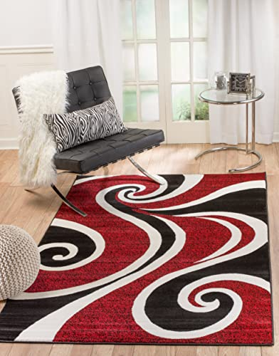 Summit 30 Red White Swirl Area Rug Modern Abstract Many Sizes Available, 7 .4 x10 .6