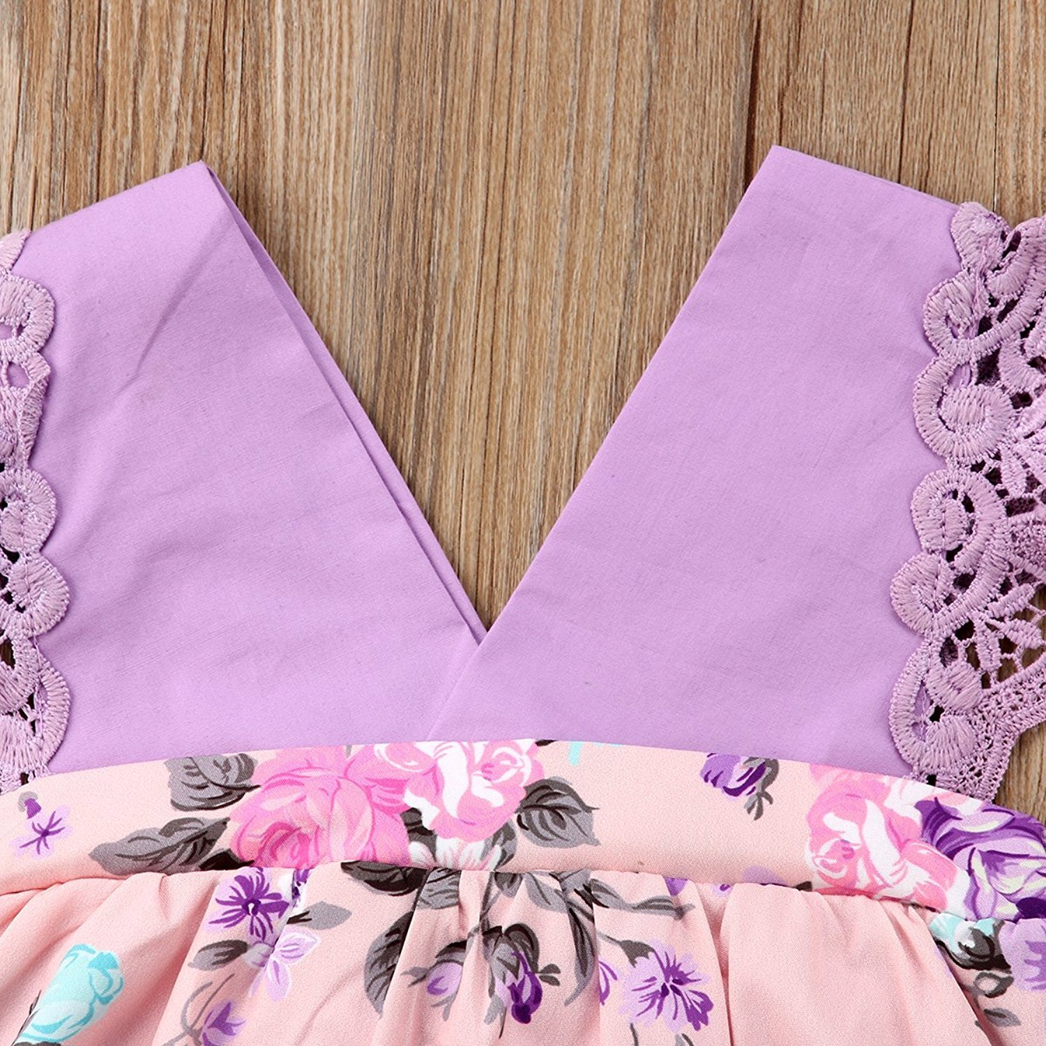 HappyMA Toddler Baby Girl Clothes Floral Dress Lace Ruffle Sleeveless Backless Skirt with Headband 2Pcs Outfit (Purple, 12-18 Months) by HappyMA (Image #4)