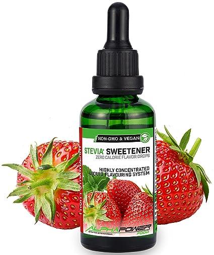 ALPHA POWER FOOD: Stevia líquida natural - Stevia Gotas de fresas con sabor a fruta