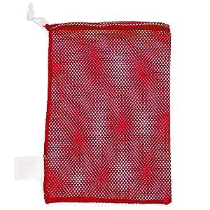Champion Sports Mesh Sports Equipment Bag - Multipurpose Nylon Drawstring Sack with Lock and ID Tag for Balls, Beach, Laundry
