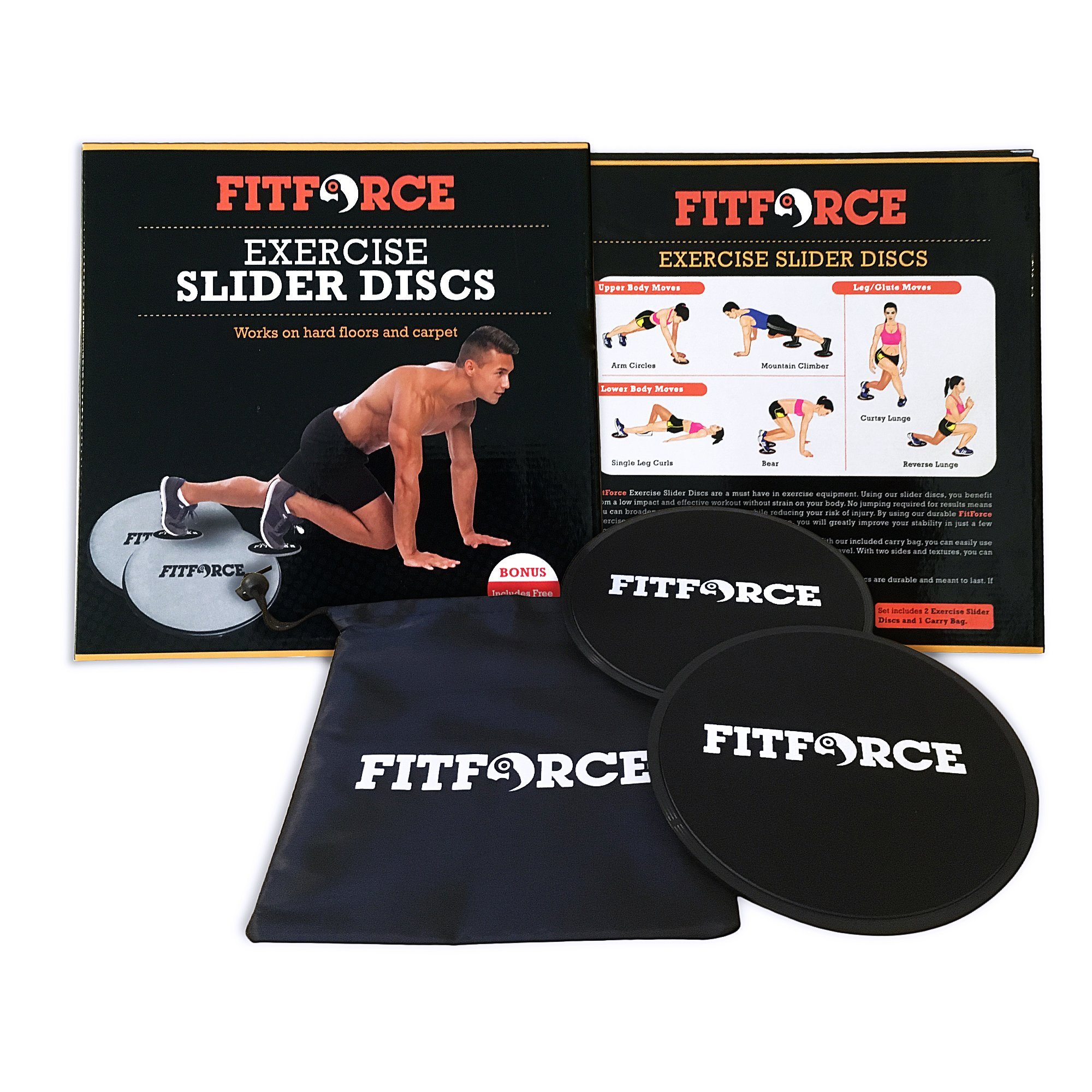 Gliding Discs Core Sliders Calisthenics Strength Training | Set of 2 Discs | Abdominal Exercise Fitness Equipment by FitForce
