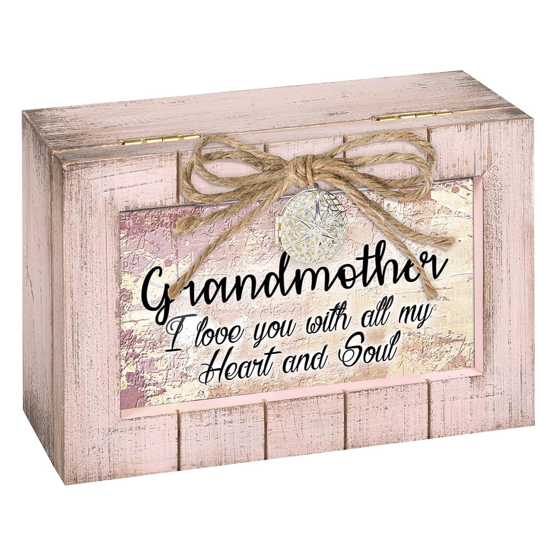 Cottage Garden Grandmother Love Heart Blush Pink Locket Petite Music Box Plays Wind Beneath My Wings