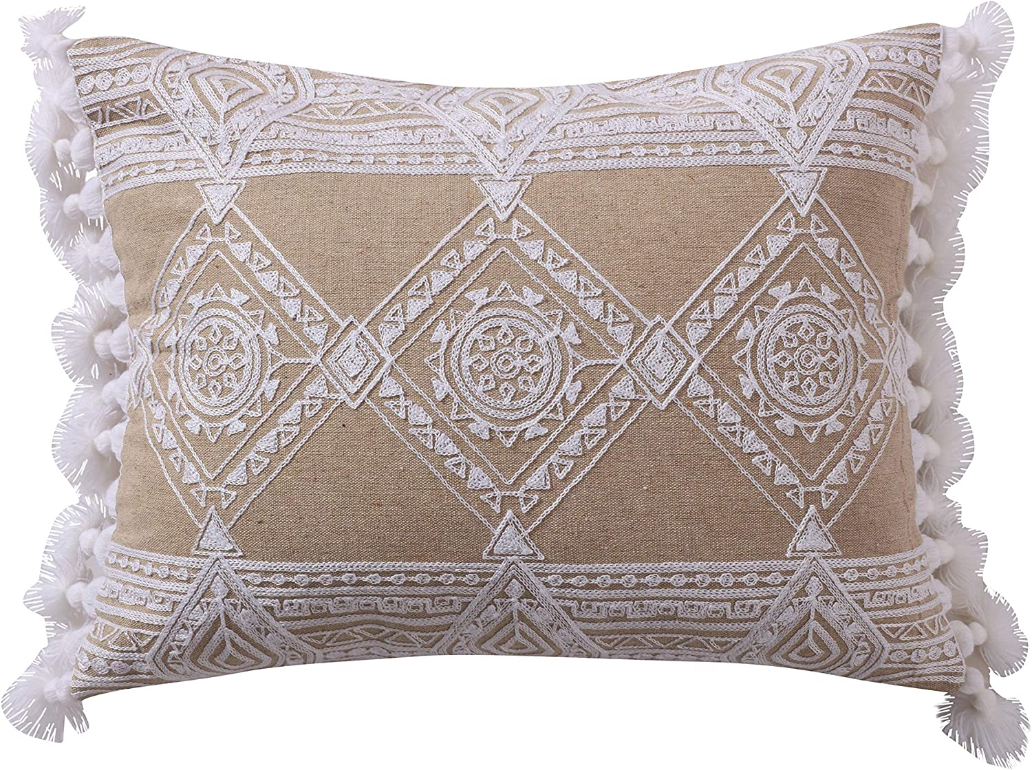 Amazon Com Levtex Home Harleson White Diamonds With Tassels Pillow 14x18 White And Natural Home Kitchen