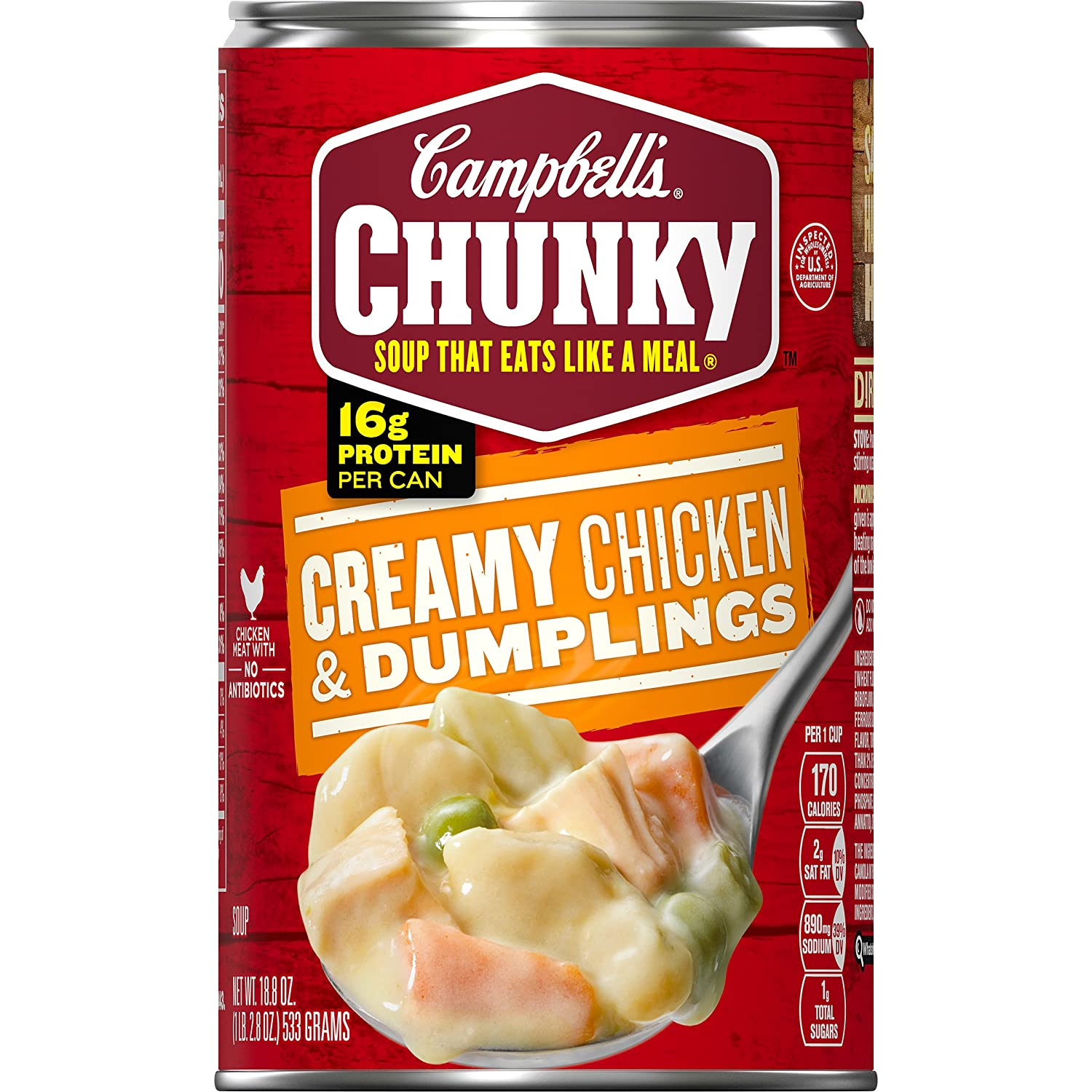 Campbell's Chunky Soup, Creamy Chicken & Dumplings, 18.8 Ounce (Pack of 12) (Packaging May Vary)