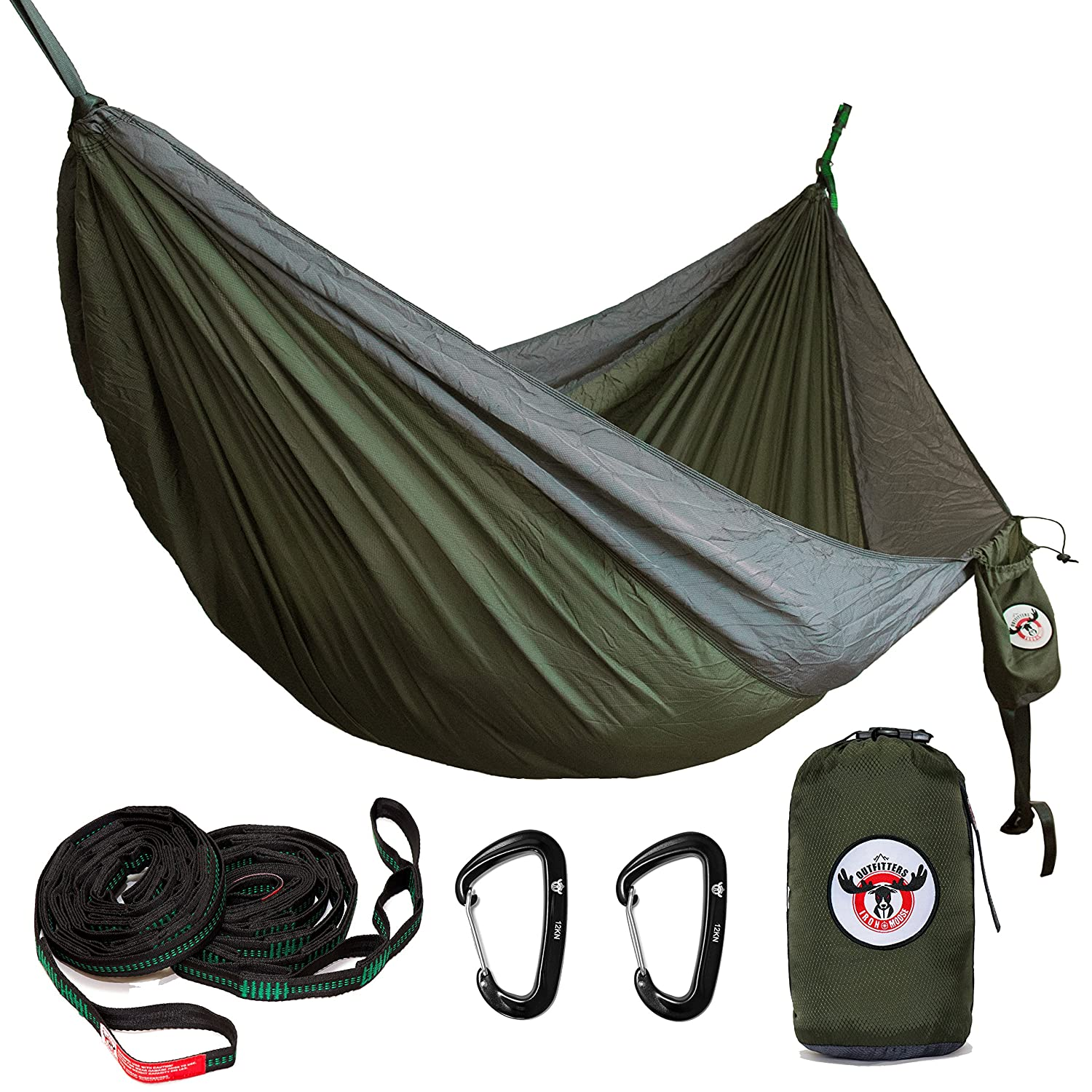 Iron Moose Outfitters Outdoor Double Camping Hammock Gear Set By includes Tear Resistant Rip-Stop Nylon Hammock fits two person, 12KN Wiregate Carabiners and Heavy-Duty Tree Straps