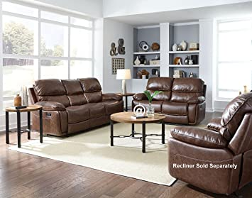 Amazon Com Colson Transitional Red Brown Color Faux Leather Sofa