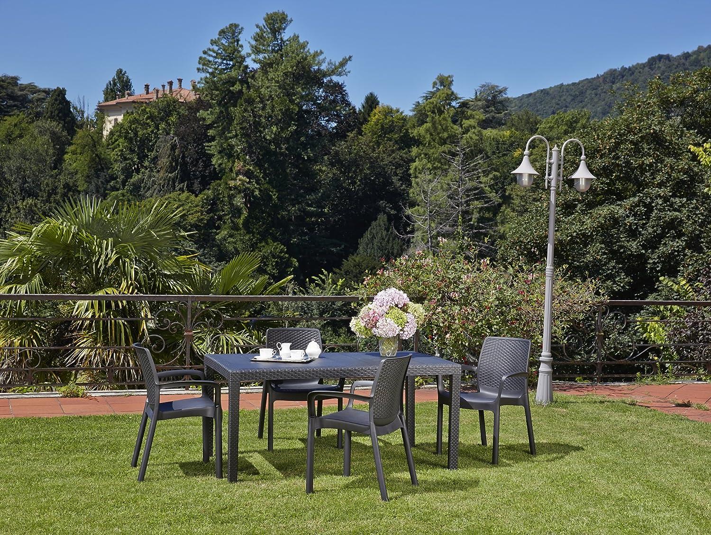 Kunststoff Gartenmöbelgruppe Jet in Rattan Optik, 4 Stapelsessel und ein Tisch, von IPAE Progarden, MADE IN EUROPE
