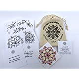 Mindful Mandala Cards: Set of 24 thoughtfully designed coloring cards in a sturdy cotton tote. Each card has an original mandala to color on one side paired with an inspiring quotation on the other.