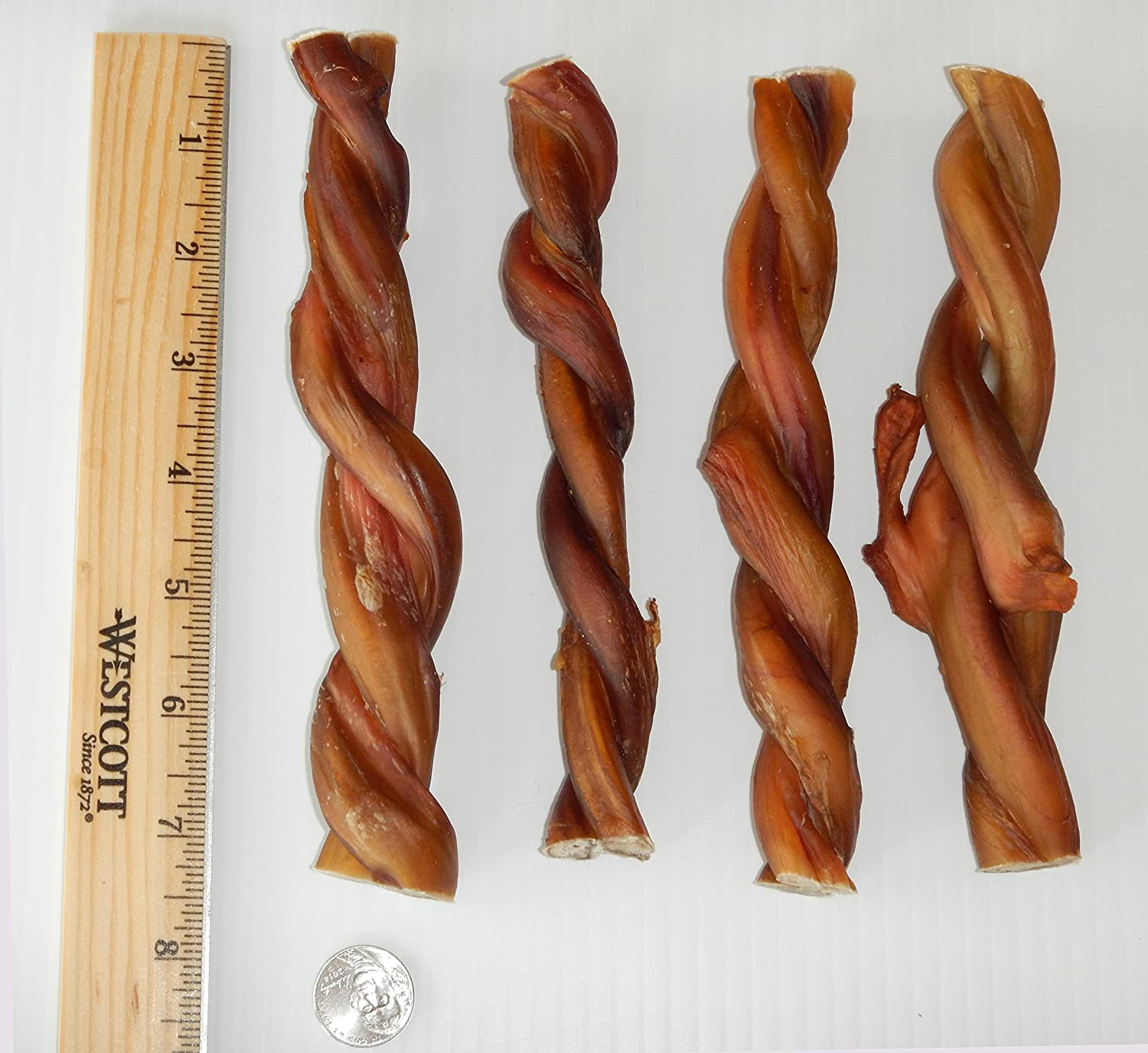 # 1 Texas Sized jumbo braided bully sticks for dogs, 12 or 6 Inch, 100% all natural dog treats sourced and made in USA - Freshly cooked from Texas with Amazing Smoky Flavor from Jack's Premium!! 4PK Jack's Premium