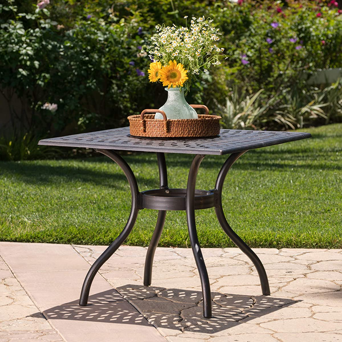 GDF Studio Augusta | Outdoor Cast Aluminum Dining Table | Square | Perfect for Patio | in Shiny Copper