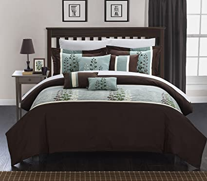 Chic Home 8 Piece Evan Embroidered Contemporary Comforter Set Queen Brown