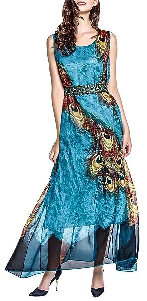 Wantdo Vestido Gasa Maxi Largo Verano para Mujer Vestido de Cóctel de Estilo Bohemio Estampado Talla