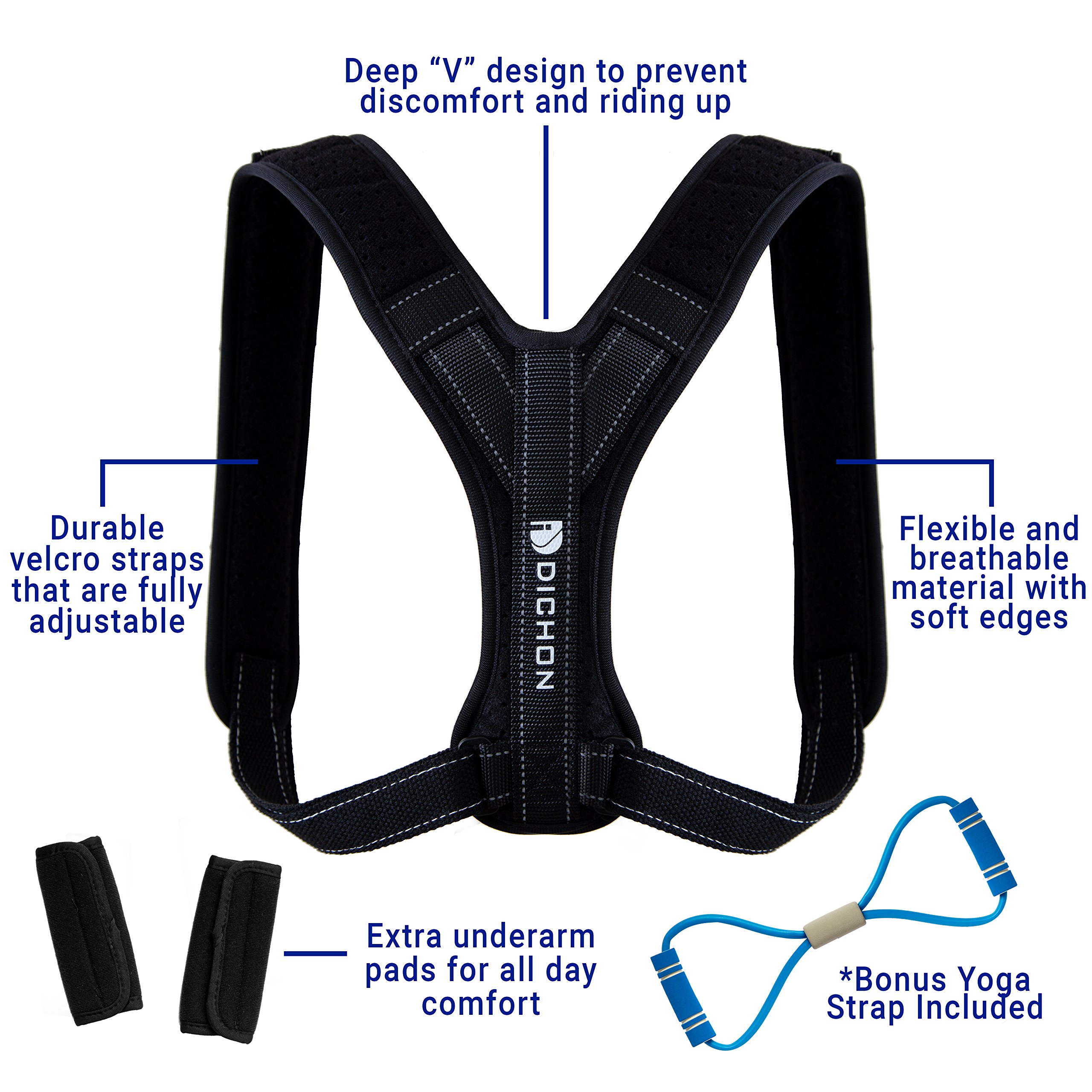 Dichon Innovations Posture Corrector Brace for Men and Women-Comfortable and Adjustable Clavicle Shoulder Support Complete with Underarm Pads and Yoga Strap, Discreet Design, Unisex Size by Dichon Innovations (Image #3)