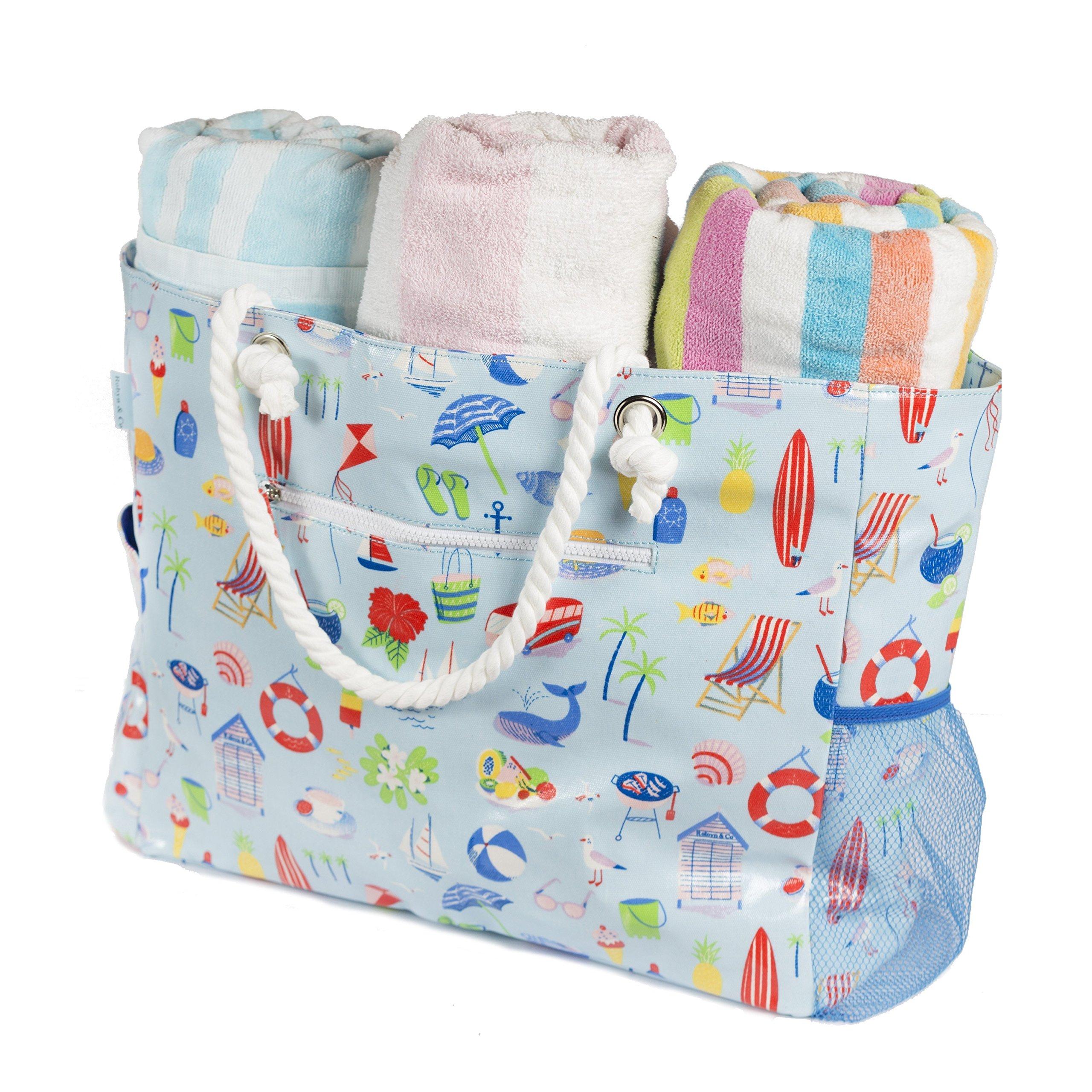 Beach Bag-Waterproof Large Beach Bag-Zippered Canvas Beach Tote-5 pockets-Mesh Pouch