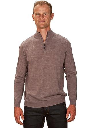 2df58066af7b2d UGHOLIN Men's Cashmere Light Brown Zip Neck Jumper: Amazon.co.uk: Clothing