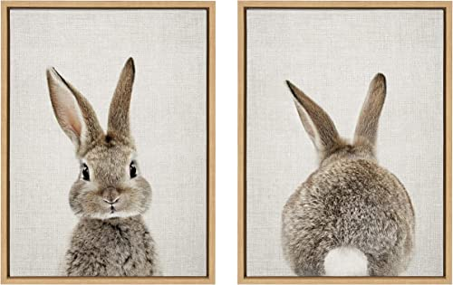 Kate and Laurel Sylvie Bunny Portrait and Bunny Tail Framed Canvas Wall Art