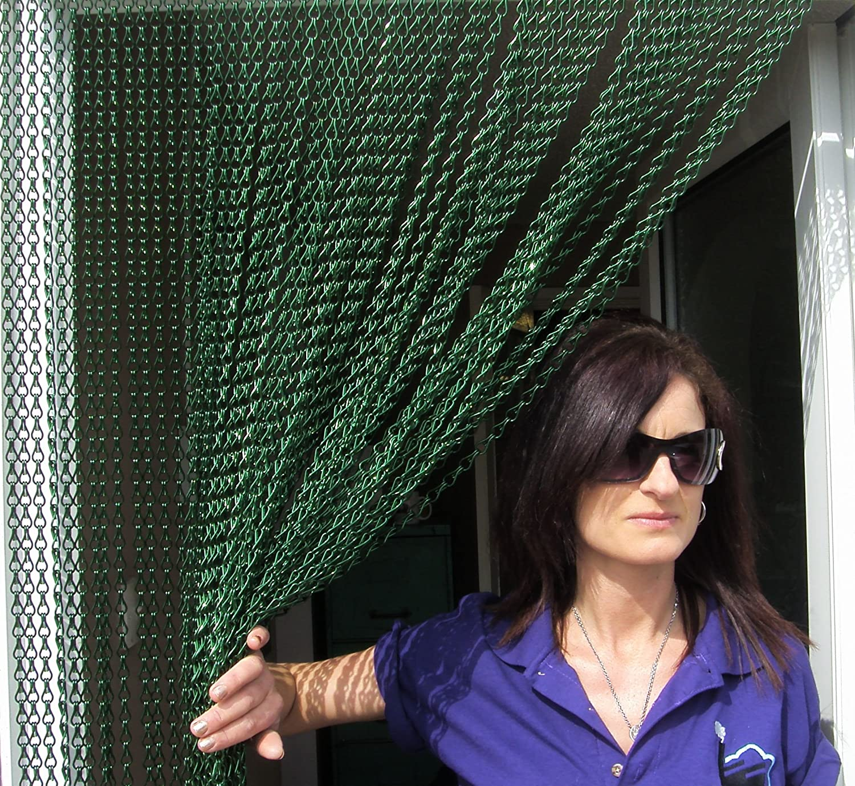 90cm wide Premium Aluminium Chain Blind//Screen Blind//Insect Screen//Chain Screen//Fly Screen//Strip Blind//Bug Blind DEEP GREEN COLOURED