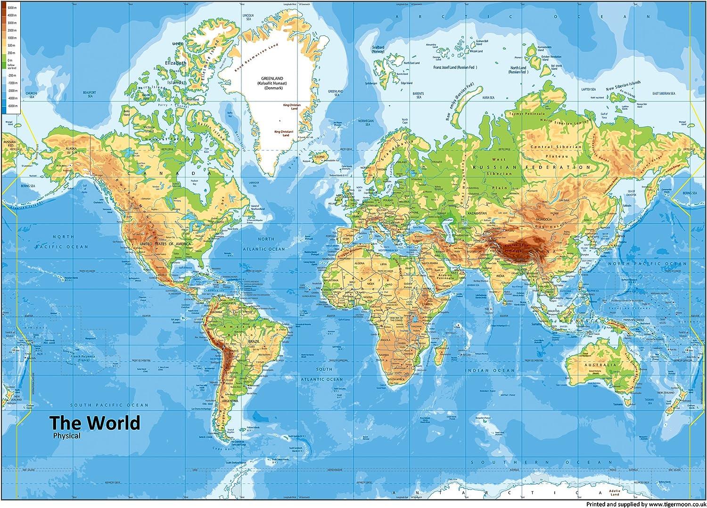 A0 carta plastificata mondo mappa fisica GA - Formato ...