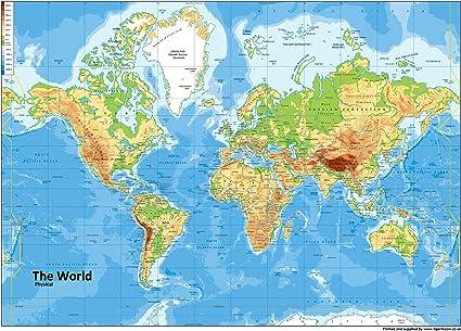 A0 papel – mapamundi físico [ga] laminado gigante tamaño.: Amazon.es: Oficina y papelería