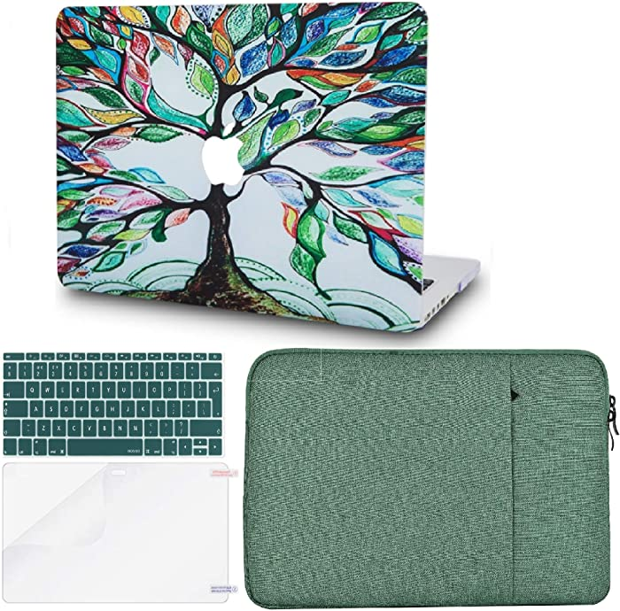 "KECC Laptop Case for MacBook Air 13"" Retina (2020/2019/2018, Touch ID) w/Keyboard Cover + Sleeve + Screen Protector (4 in 1 Bundle) Plastic Hard Shell Case A1932 (Colorful Tree)"