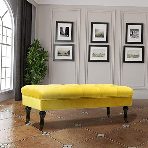 Yellow Velvet Upholstered Tufted Bench Ottoman Seat for Bedroom Living Room Dining Room Entryway, 43-Inch, Black Finish