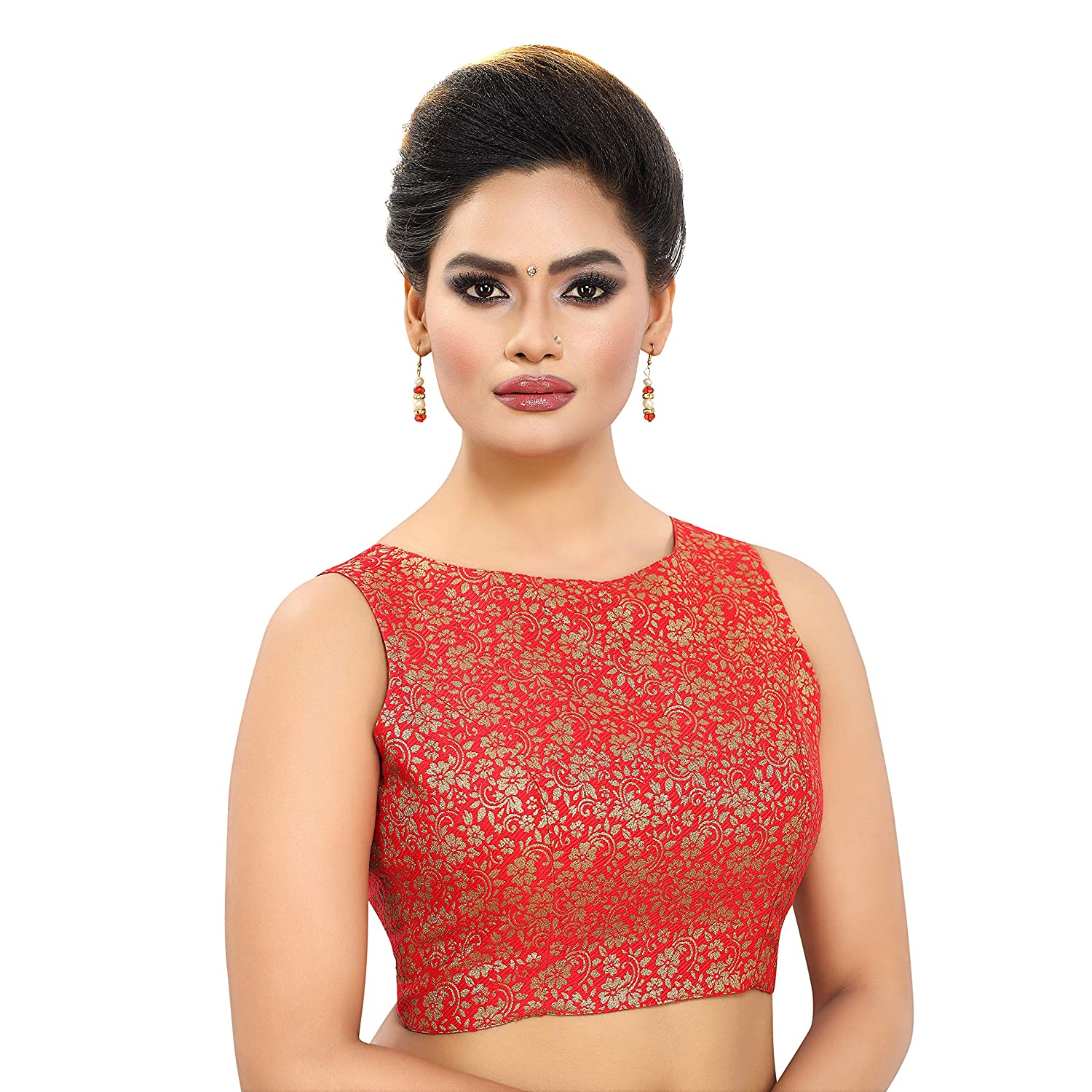 e4d9b5eb7127ab MADHU FASHION s WOMEN s BROCADE READYMADE SLEEVELESS SAREE BLOUSE with BOAT  NECK  Amazon.in  Clothing   Accessories