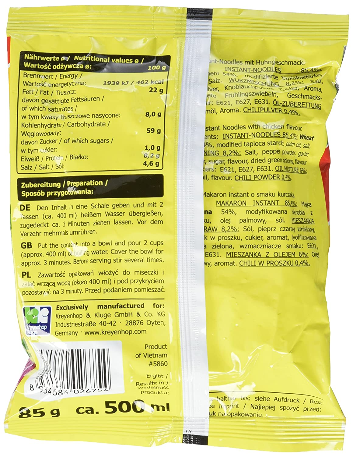 A-ONE Instantnudeln, Huhn, 30er Pack (30 x 85 g Packung): Amazon.de ...