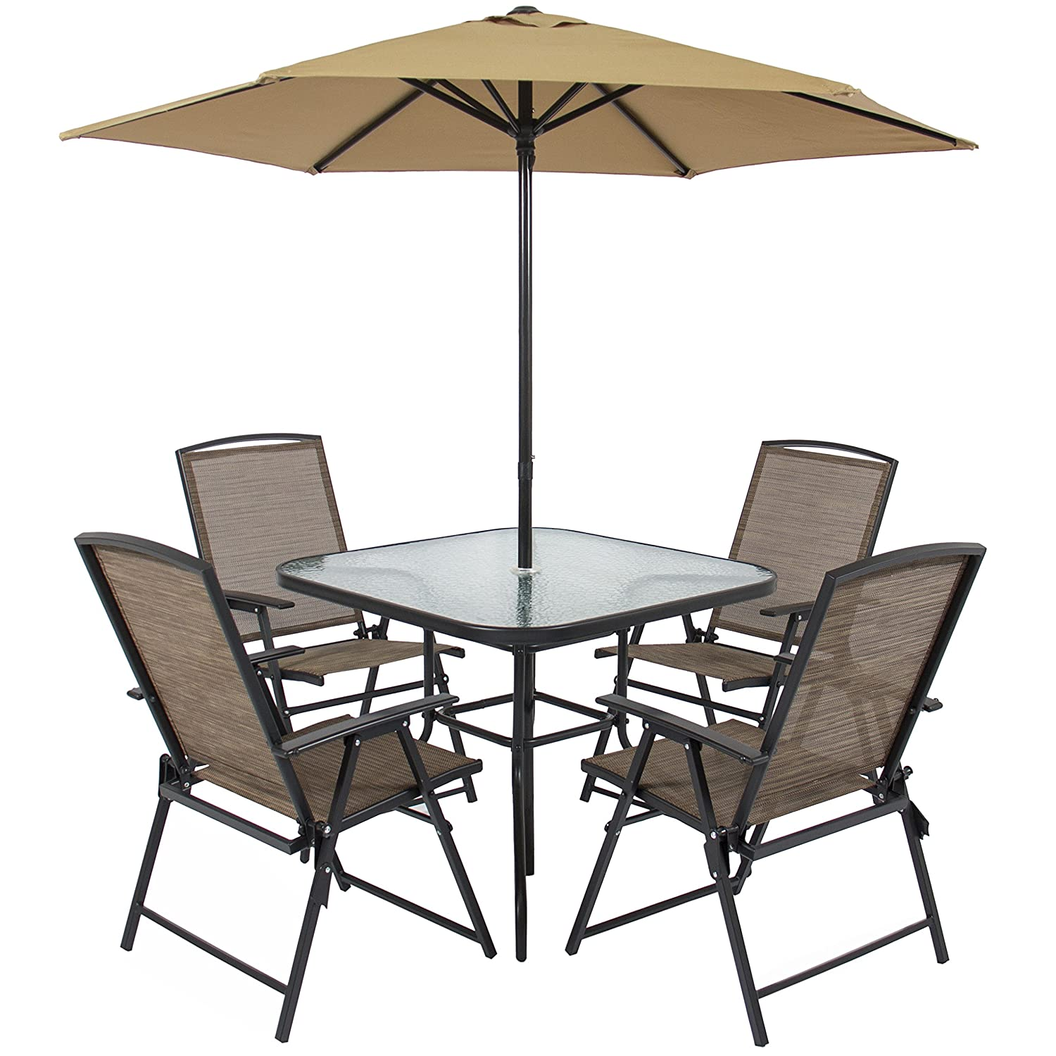 Amazon.com: Best Choice Products 6pc Outdoor Folding Patio Dining Set W/  Table, 4 Chairs, Umbrella And Built In Base: Garden U0026 Outdoor