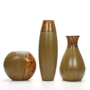 Hosley's Set of 3 Burlwood Vases. Ideal Gift for Wedding or Special Occasion and for Home Office, Decor, Floor Vases, Spa, Aromatherapy Settings O3