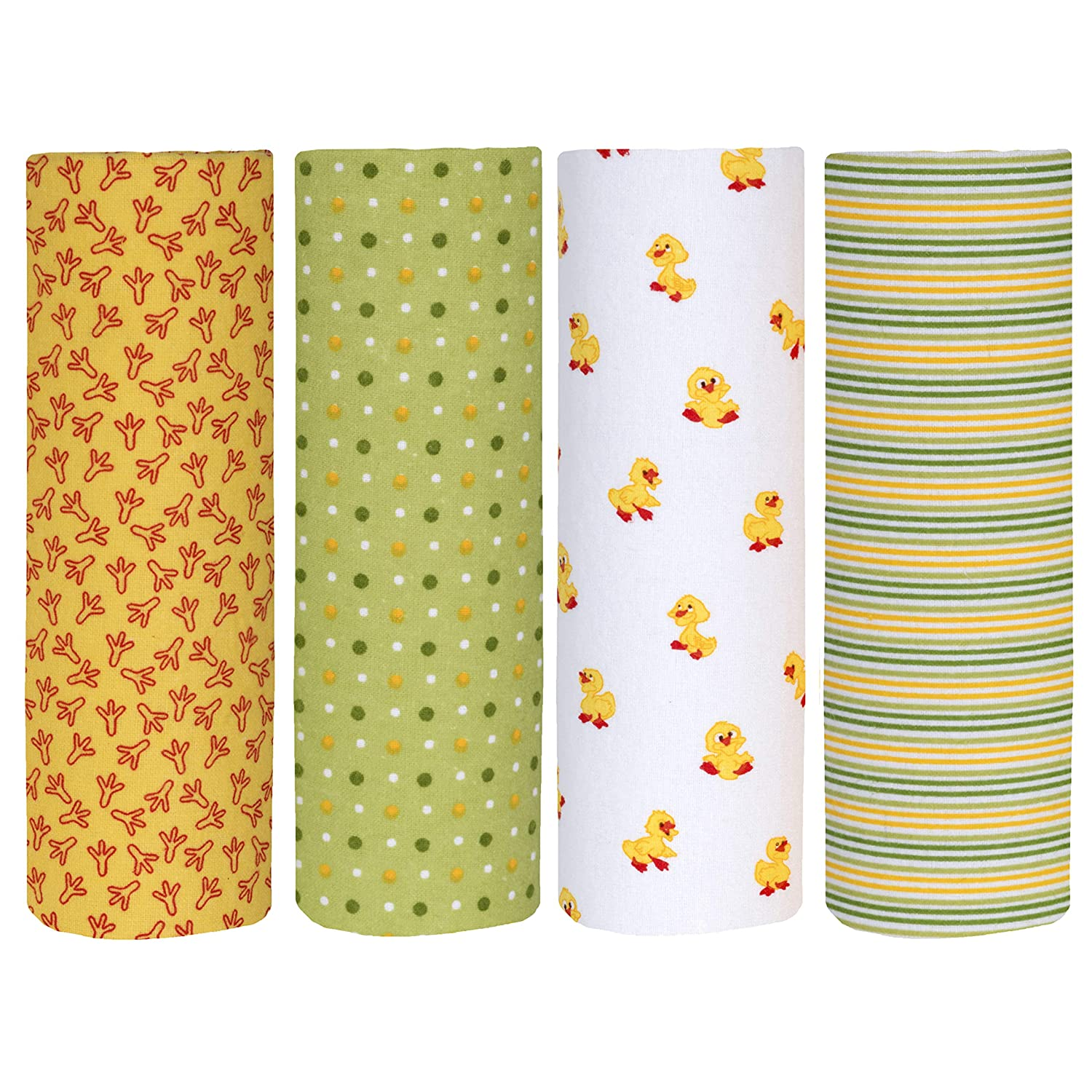 Pack of 4 Cuddles /& Cribs Cotton Flannel Receiving Blankets