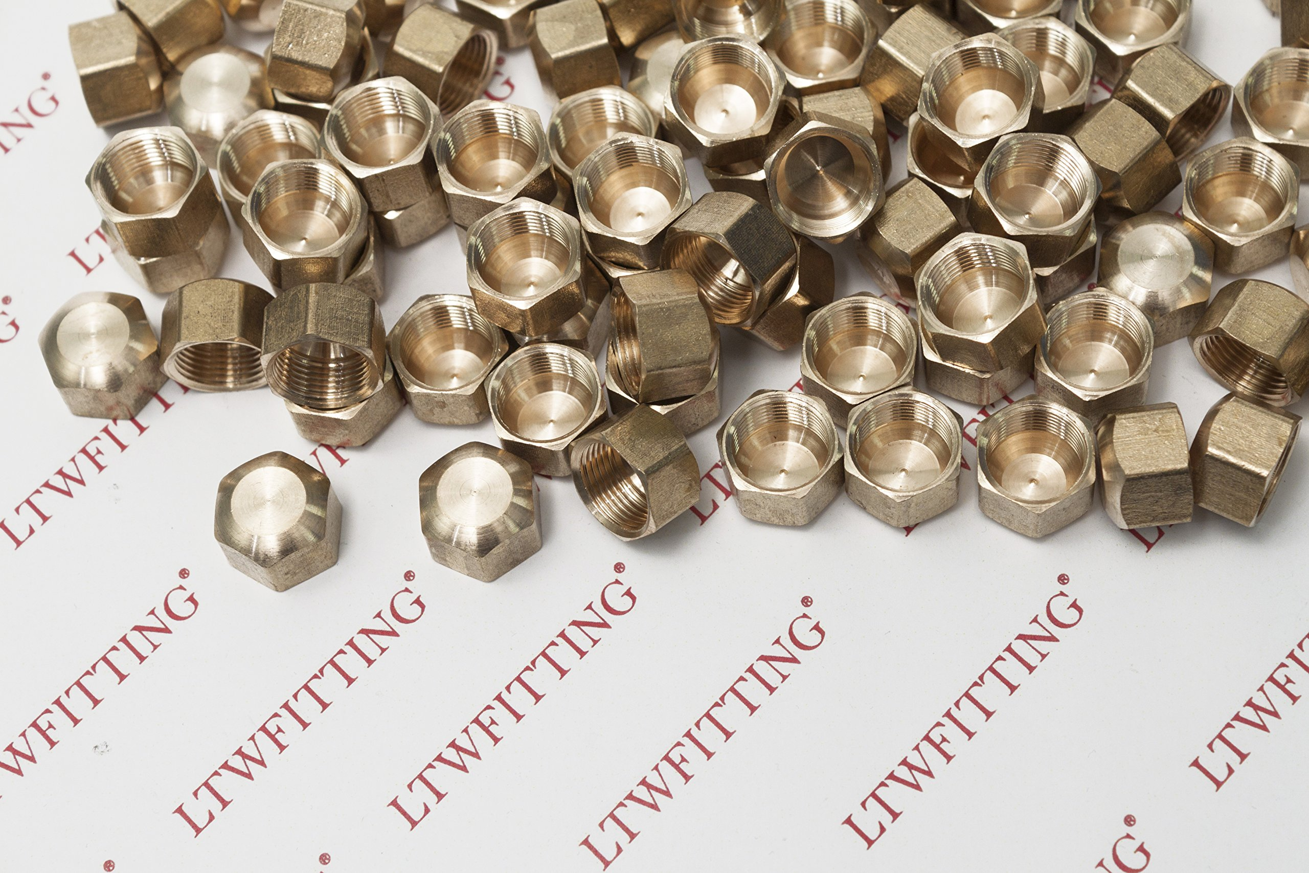 LTWFITTING 3/8'' Brass Compression Cap Stop Valve Cap,BRASS COMPRESSION FITTING(Pack of 60) by LTWFITTING (Image #2)