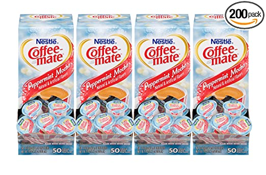 NESTLE COFFEE-MATE Coffee Creamer, Peppermint Mocha, 0.375oz liquid creamer singles, 50 count, Pack of 4