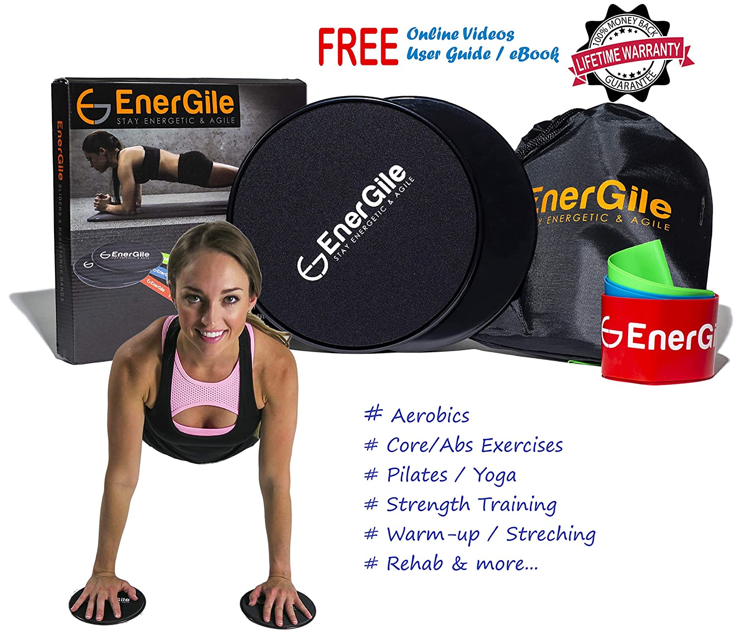 Energile Gliding Discs Elastic Resistance Bands for Full Body Training Home Gym Workout Accessories Free Exercises eBook Videos Your Gear for Toning Core Muscles Legs Arms Glutes More