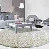 iCustomRug Cozy Soft And Plush Pile, (6' Diameter) Round Shag Area Rug In Off White